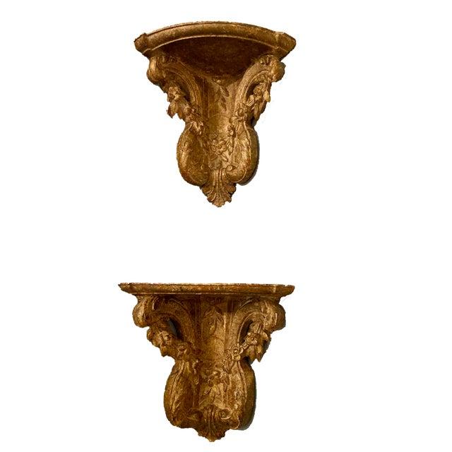 "Beautifully Carved Pair of 19th Century Gilt Corner Brackets 12"" Wide x 9.5"" Deep x 12"" High"