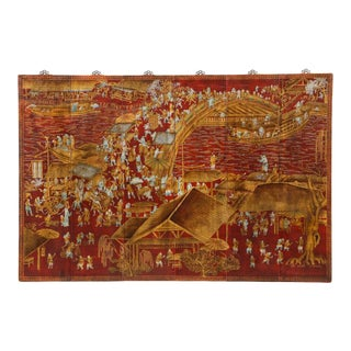 Series of Six Red Lacquered Chinoiserie Panels For Sale