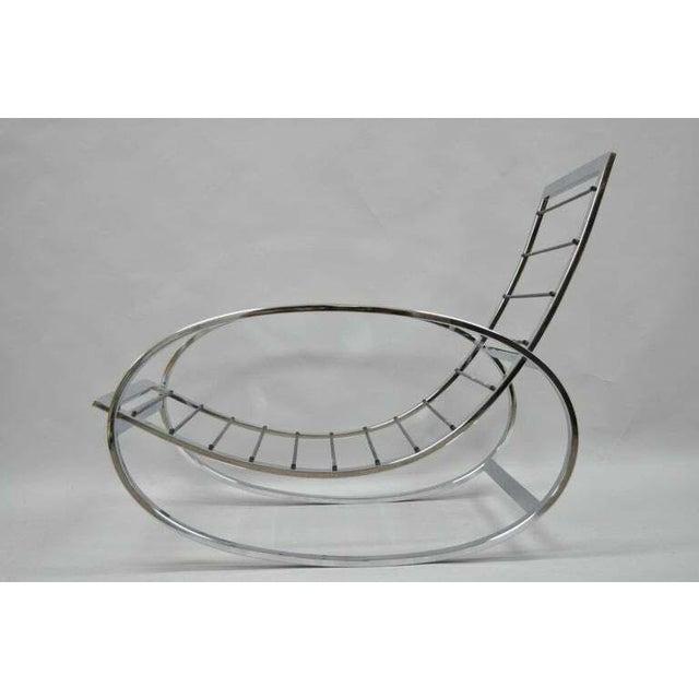 Mid Century Modern Renato Zevi Selig Ellipse Milo Baughman Chrome Rocking Chair For Sale - Image 9 of 10