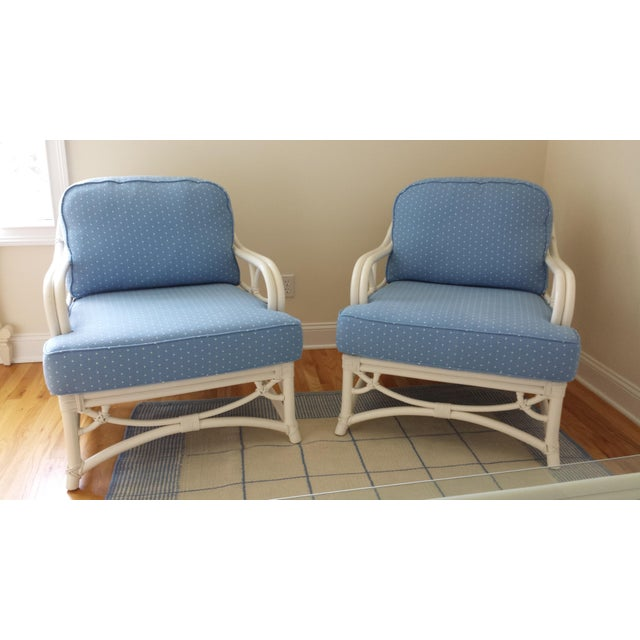 Ficks Reed set of two armchairs. Purchase in 1997 and used in a sunroom for two years. Upon moving, reupholstered from...