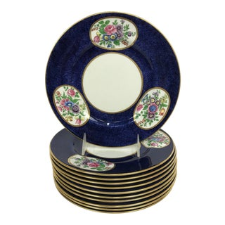Vintage Crown Staffordshire Cobalt & White With Flowers Luncheon Plate Set - 12 Piece For Sale