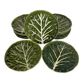 Vintage Faiancas Neto Majolica Cabbage Dinner Plates- Set of 14 For Sale