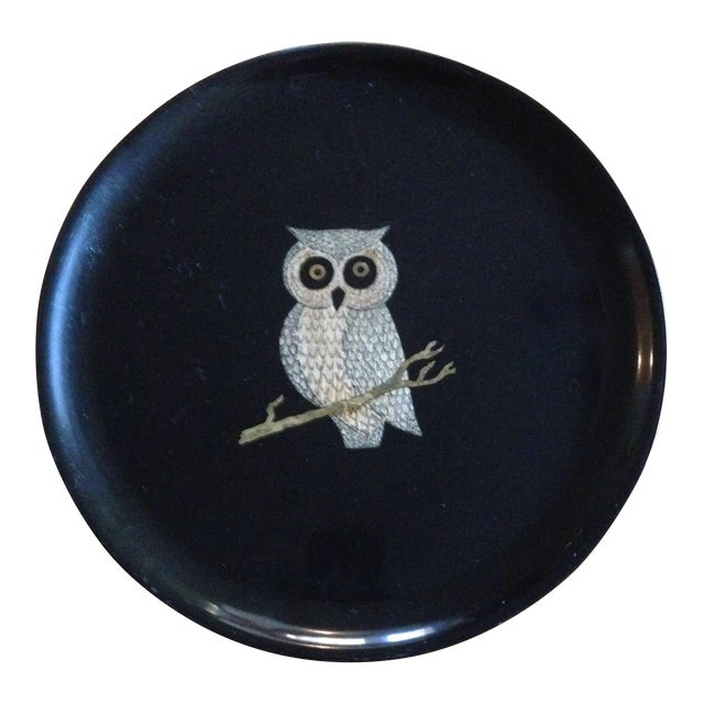 Vintage Couroc of Monterey Owl Tray For Sale