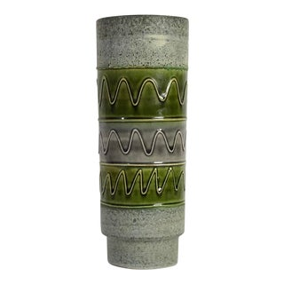 Mid Century Cylindrical Gray & Green Pottery Vase For Sale