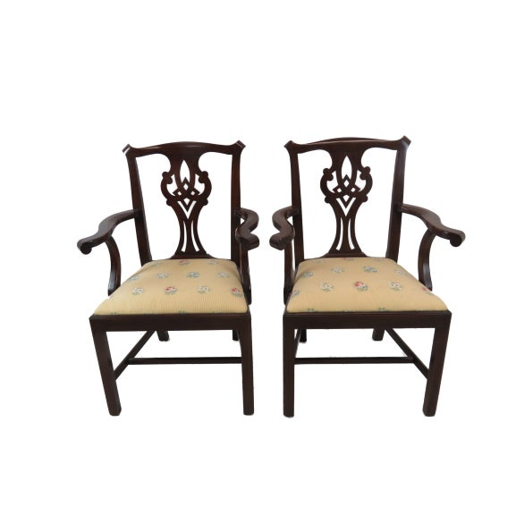 Set of 6 Henkel Harris Chippendale mahogany dining chairs including 2 Arm Chairs and 4 side chairs. Well made, beautiful...