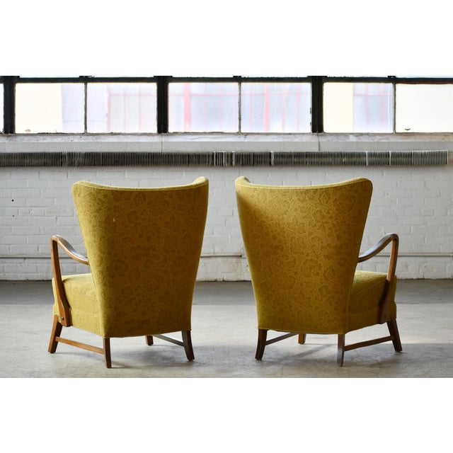 Wood Danish 1940s Midcentury Fritz Hansen Style High Back Lounge Chairs - a Pair For Sale - Image 7 of 9