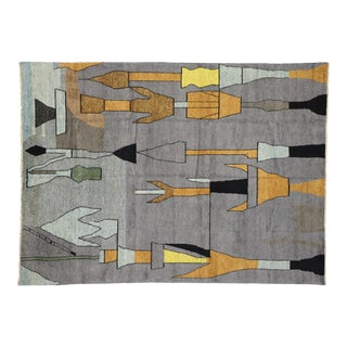 "Contemporary Moroccan Style Rug Inspired by Paul Klee - 9'11"" X 13'7"" For Sale"