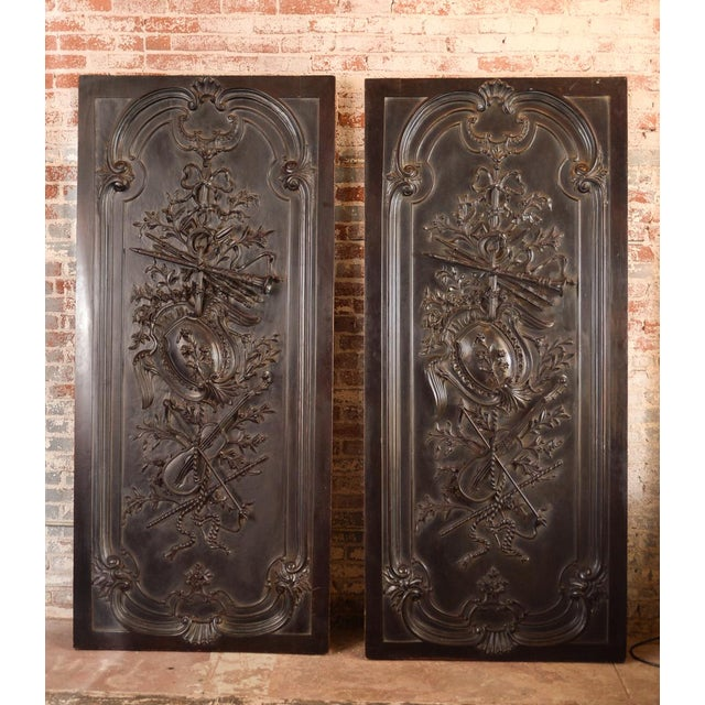 Antique Neoclassical Carved Doors - Set of 4 - Image 4 of 11