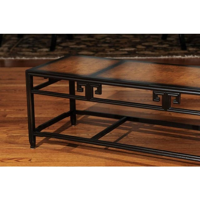 """Elegant Burl Inlay Coffee Table, """"Far East"""" Collection by Baker For Sale - Image 9 of 11"""