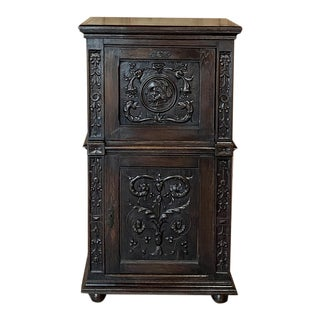Antique Renaissance Oak Drop-Front Cabinet For Sale