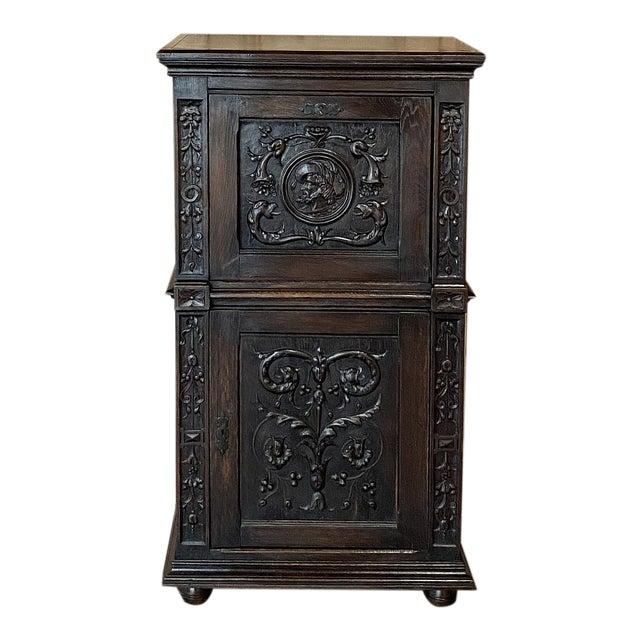 Antique Renaissance Oak Drop-Front Cabinet For Sale