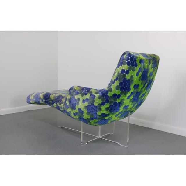 Vladimir Kagan Erica Lucite & Original Fabric Chaise - Image 4 of 8