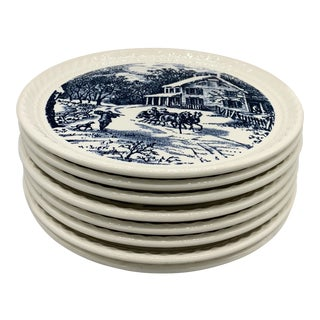 Royal China's Currier & Ives Blue Dessert/ Pie Plates - Set of 8 For Sale