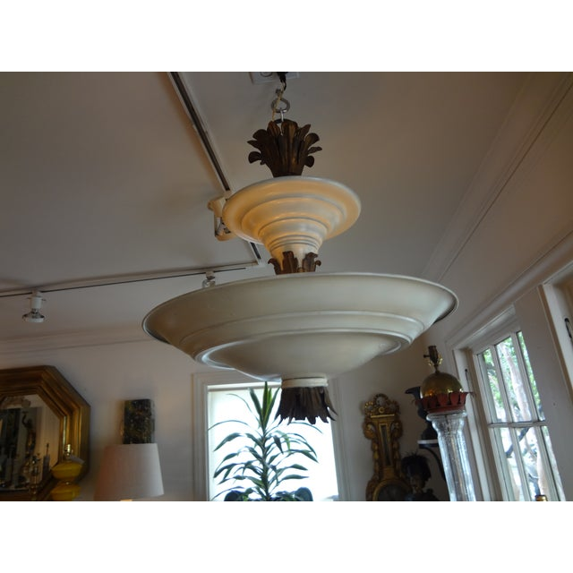 French Art Deco Tole & Bronze Chandelier - Image 6 of 7