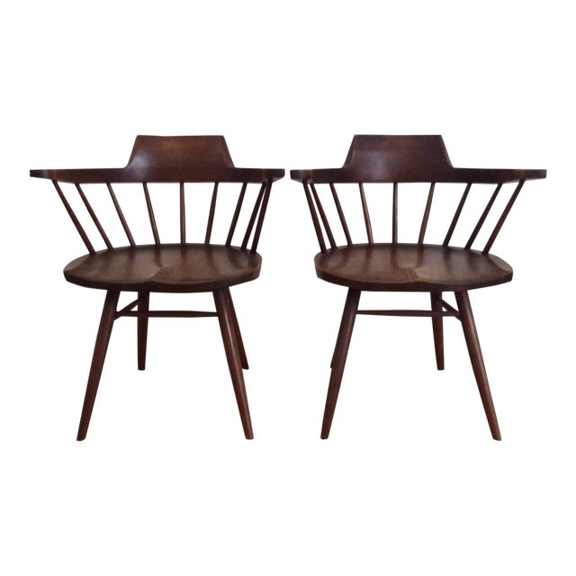 1950s Vintage Signed Nakashima Walnut Captain's Chairs - a Pair For Sale