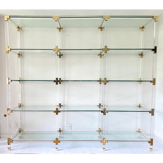 Vintage Large Lucite Brass and Glass Bookcase Etagere For Sale - Image 9 of 9