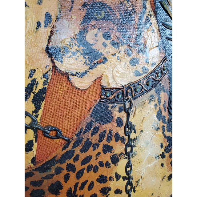 1970s 1970s Mid-Century Modern Roman Cheetah Oil Painting on Burlap Canvas by Wyman For Sale - Image 5 of 13