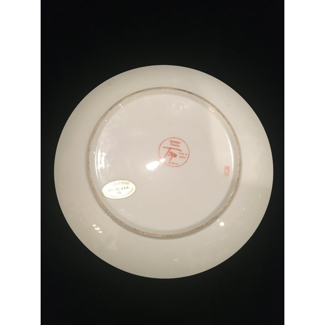 Metal Chinoiserie Plate in Golds & Pinks For Sale - Image 7 of 9