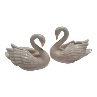 Vintage Lenox Miniature Porcelain Swans - a Pair For Sale