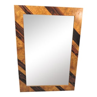 Mid Century Burl Olivewood & Rosewood Mirror For Sale