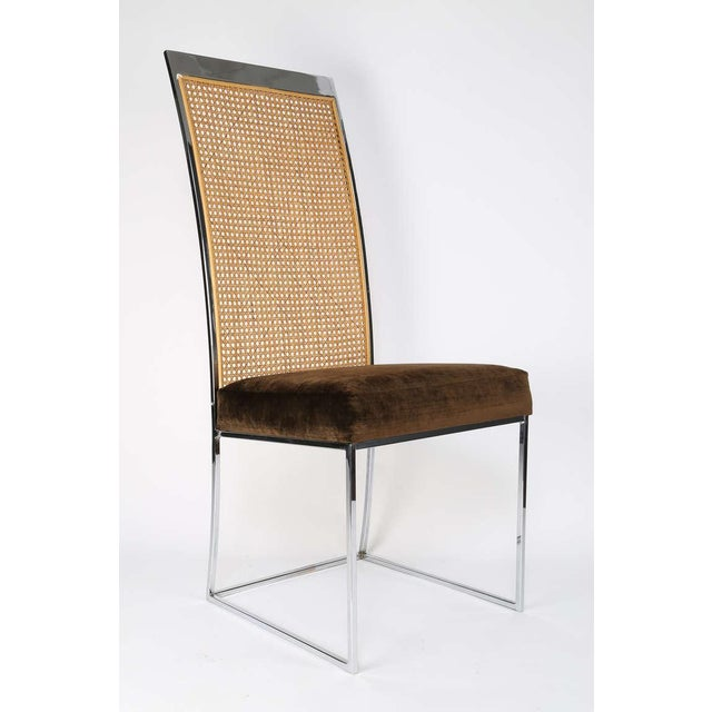 Silver Six High Back Cane Dining Chairs by Milo Baughman for Thayer Coggin For Sale - Image 8 of 11