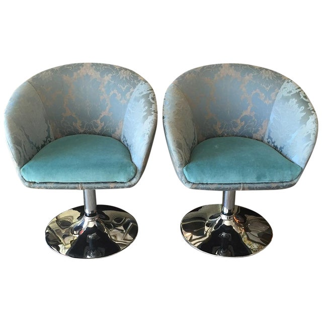 Vintage Custom Teal Swivel Chairs - A Pair - Image 1 of 11