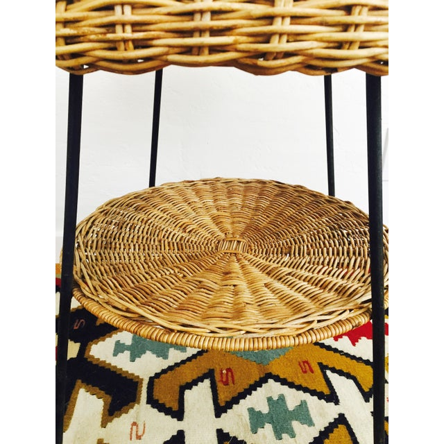 Mid Century Round Wicker Side Table on Metal Base - Image 6 of 10