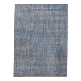 Simplicity Blue Contemporary Handwoven Rug 8' X 10' For Sale