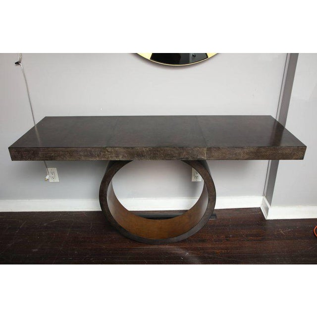 Gold Leaf Custom Charcoal Goatskin Console with Umber Gold Leaf For Sale - Image 7 of 9