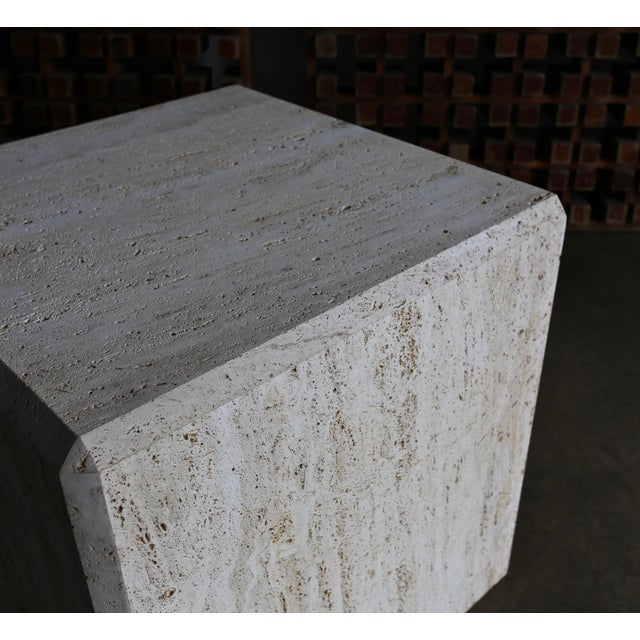Hollywood Regency Travertine Cube Side Table, Circa 1980 For Sale - Image 3 of 9