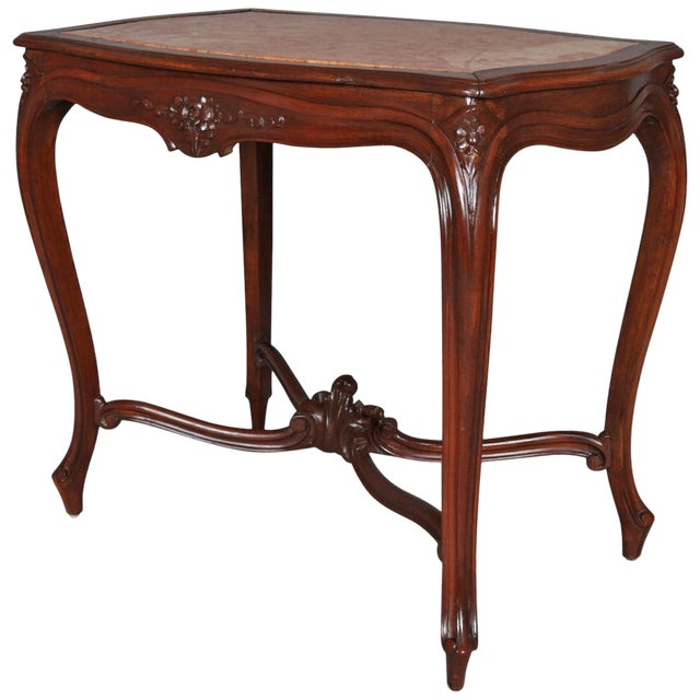 Antique French Louis XV Style Carved Walnut and Marble Center Table, Circa 1900 For Sale