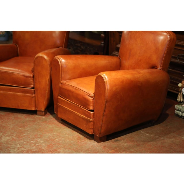 Animal Skin Pair of Early 20th Century French Club Armchairs With Original Brown Leather For Sale - Image 7 of 9
