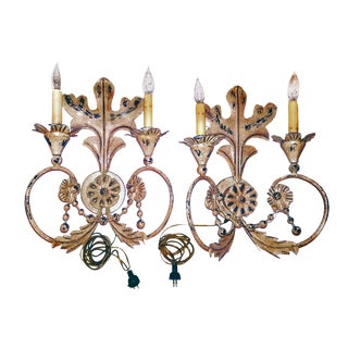 Knoll Distressed Oak Rose Gold Toned Florentine Two Armed Sconces - a Pair For Sale