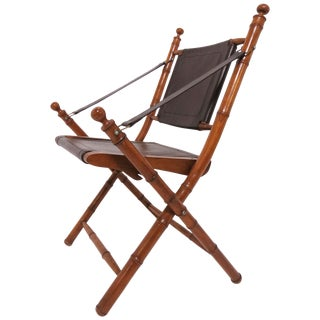 Faux Bamboo Folding Campaign Chair, Circa 1960s For Sale