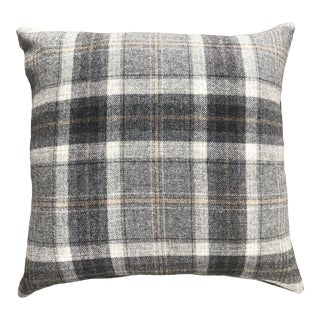 British Gray, Beige and Ivory Plaid Pillow With Herringbone Reverse For Sale