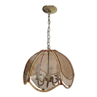 Italian Rattan and Glass Pendant Lamp For Sale