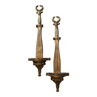 Gilt Wall Bracket Plate Holders - a Pair For Sale