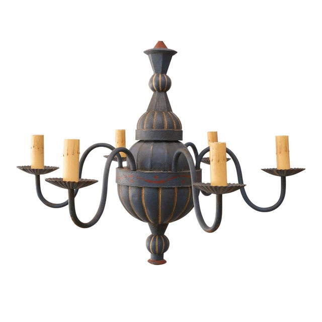 Vintage Painted Tole Chandelier For Sale In Houston - Image 6 of 9