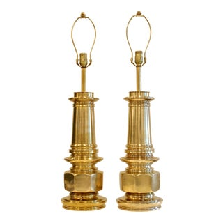 Stiffel Architectural Brass Lamps - A Pair