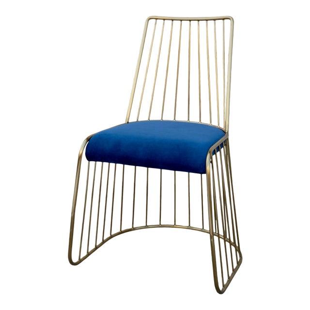 Modern Royal Blue Velvet and Gold Dining Chair