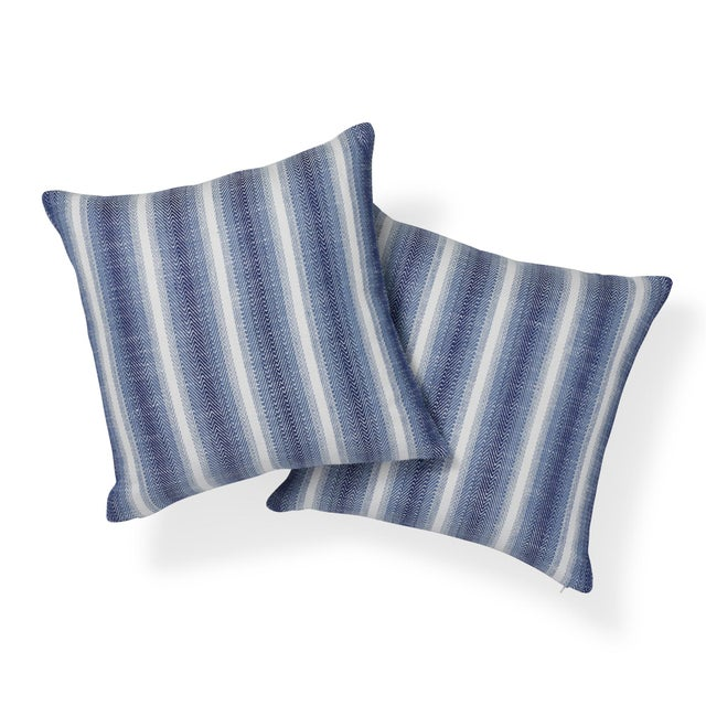 "This 18"" x 18"" indoor/outdoor pillow features Colada Stripe in Blue. It's hard to believe that natural linen can be..."