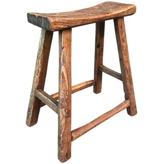 19th Century Chinese Elm Stool For Sale