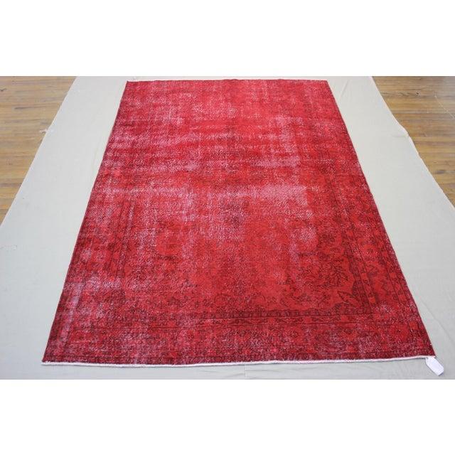 "Vintage Turkish Red Overdyed Rug - 7'2"" X 11' - Image 2 of 6"
