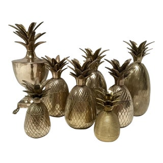 Set of 8 Brass Pineapple Candle Holders For Sale