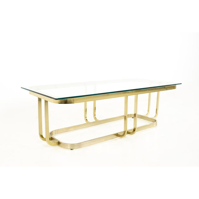 Metal Milo Baughman Style Mid Century Brass and Glass Coffee Table For Sale - Image 7 of 12