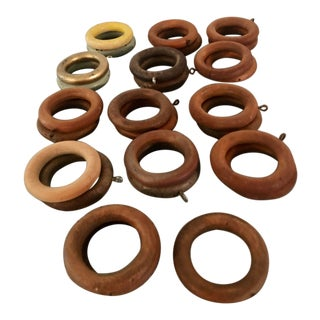 Vintage Wood Curtain Rings Set of 22 For Sale