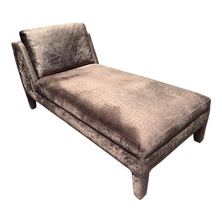 Modern Faux Crocodile Settee Velvet Fainting Chaise For Sale