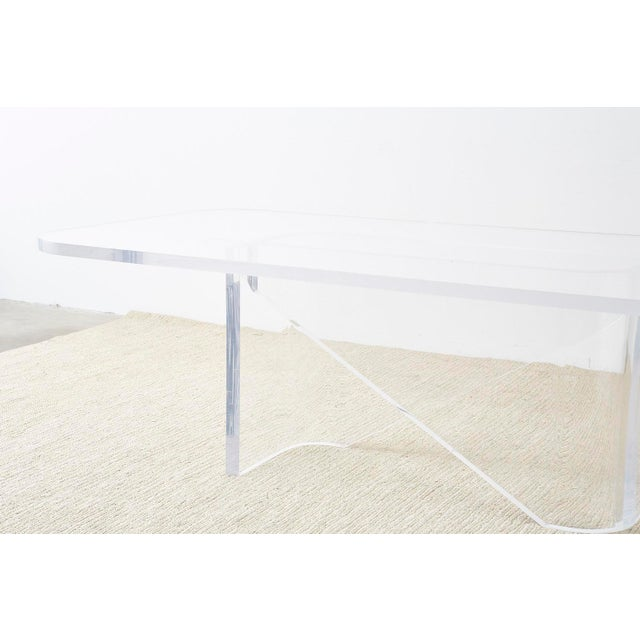 Monumental Italian Moderne Sculptural Lucite Dining Table For Sale - Image 12 of 13