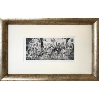 19th C French Antique Etching of a Renaissance Style Scene For Sale