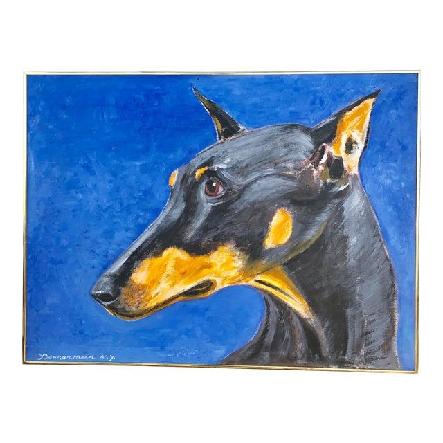 Large Contemporary Doberman Pincher Original Dog Portrait Painting Signed For Sale